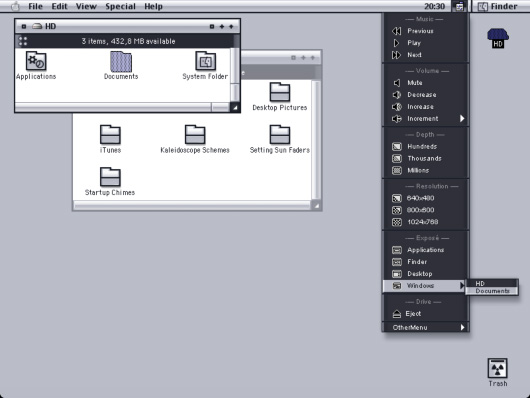 Screenshot of Central Control for Classic Mac OS.