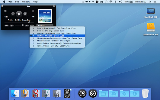 Screenshot of Vox Legacy for Mac OS X 10.10 Yosemite and higher.